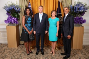 President Barack Obama and First Lady Michelle Obama greet His Excellency Klaus Werner Iohannis, The President of Romania, And Mrs. Iohannis during the United Nations General Assembly reception at the New York Palace Hotel in New York, N.Y., Sept. 28, 2015. (Official White House Photo by Lawrence Jackson)